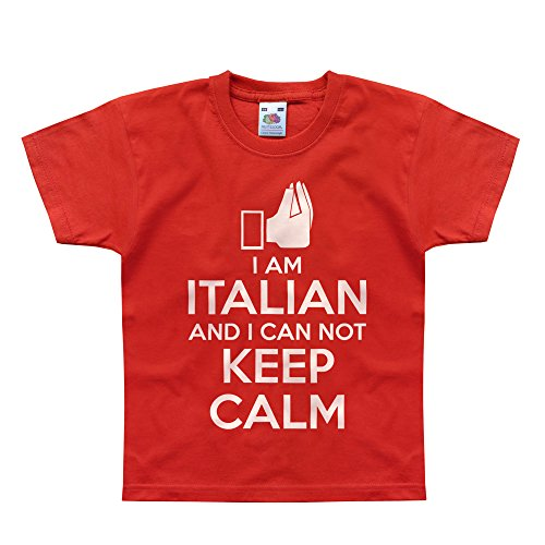 Kids Red Italian Charm (Nutees I Am Italian And I Can Not Keep Calm Unisex Kids T Shirts - Red 2/3)