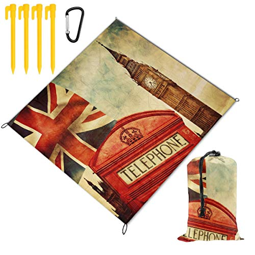 - Waterproof Picnic Mat Vintage Famous London Big Ben Union Jack Traveling Quick Drying Picnic Mats Potable Outdoor Beach Blanket Foldable Picnic Blanket for Camping,Hiking,Festival,Beach,BBQ,Picnic 59