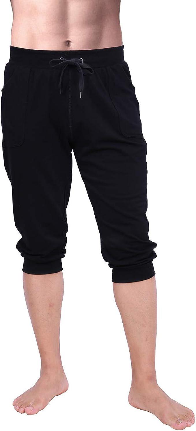 Bmeigo Uomo Fitness Capri Pantaloni 3//4 Tights Stretch Allenamento Trousers