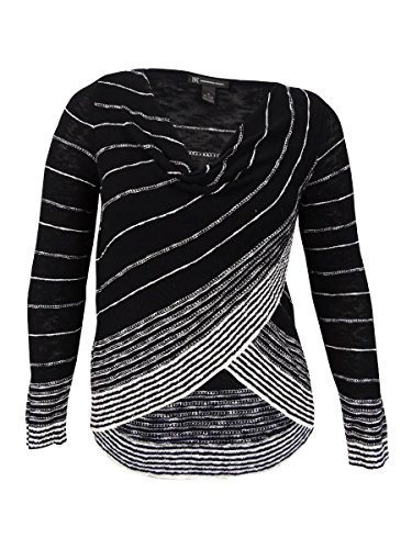 INC International Concepts Women's Striped Crossover Top (M, Black/White) from INC International Concepts