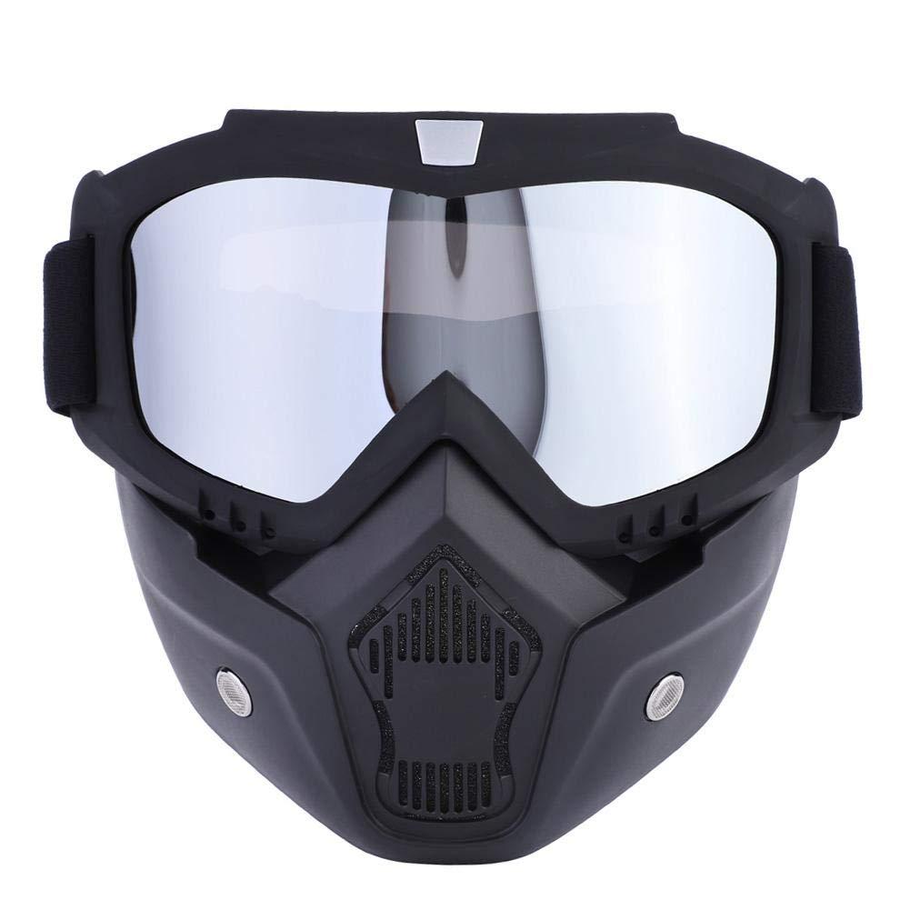Staccabili Occhiali e Bocca Filtro equitazione e sport allaria aperta Casco da moto con occhiali per er motocross sci moto ciclismo Moto Maschera arrampicata argento