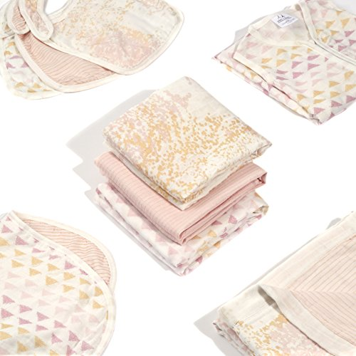 "aden + anais Silky Soft Metallic Burpy Bib; 100% Viscose bamboo Muslin; Soft Absorbent 4 Layers; Multi-Use Burp Cloth and Bib; 22.5"" X 11""; Single; Primrose by aden + anais (Image #5)"