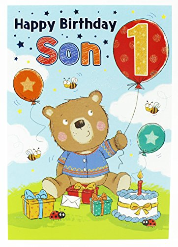 Happy 1st Birthday Boys Greeting Cards Party To Son Blue Baby Luxury Age...