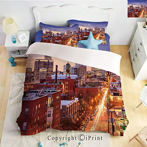 Homenon Hight Quality 4 Piece Bed Sheet Set,Richmond Virginia Highway Office Buildings Downtown at Dusk Urban Lifestyle Decorative,Multicolor,King ()