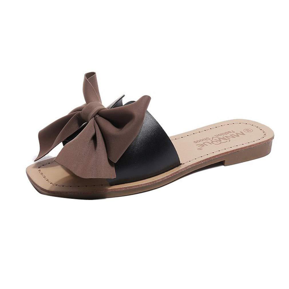 YUCH Chaussures Femme Pantoufles Fleurs Plates Cravate Plates Chaussures Pantoufles Cravate Paresseux Black 32b10b0 - avtodorozhniks.space