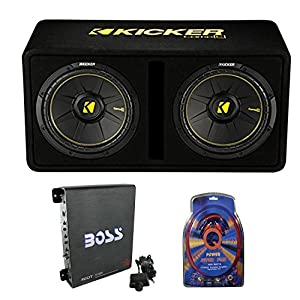 "Kicker 44DCWC122 12"" 1200W Car Audio Subwoofer Sub Enclosure+Mono Amplifier Amp"