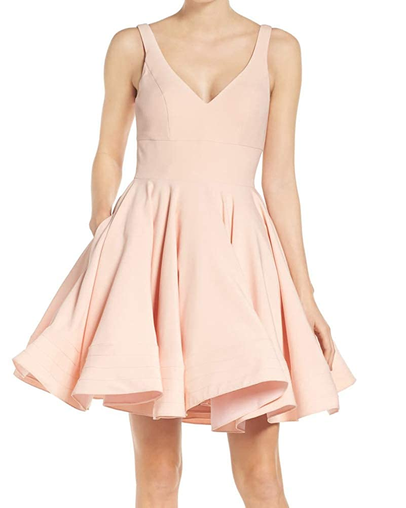 bluesh Pink Stylefun Homecoming Dresses V Neck Short Satin Cocktail Bridesmaid Prom Gown with Pockets BD071