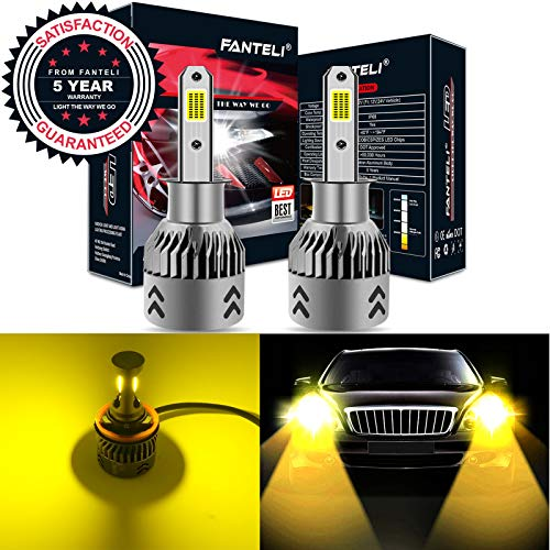 FANTELI H3 3000K Yellow LED Headlight Bulbs All-in-One Conversion Kit - 72W 8000LM Fog Driving Lights Foglights Extremely Bright