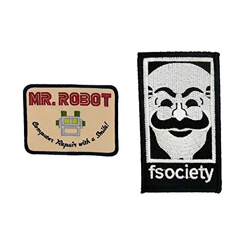 MR Robot FSOCIETY TV Series Show Embroidery SET of 2 Patches beige Halloween costume Badge Shirt Jacket Cap Hat Geek Gift Easy Iron/Sew On -