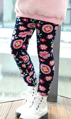 BogiWell Kid Girl Winter Cute Warm Thick Fleece Legging Pant Type 8(US 6-8T, Tag 150) by BogiWell (Image #2)