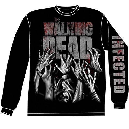 (Walking Dead The Zombie Infected Hands Official Licensed Adult Long Sleeve Shirt XL Black)