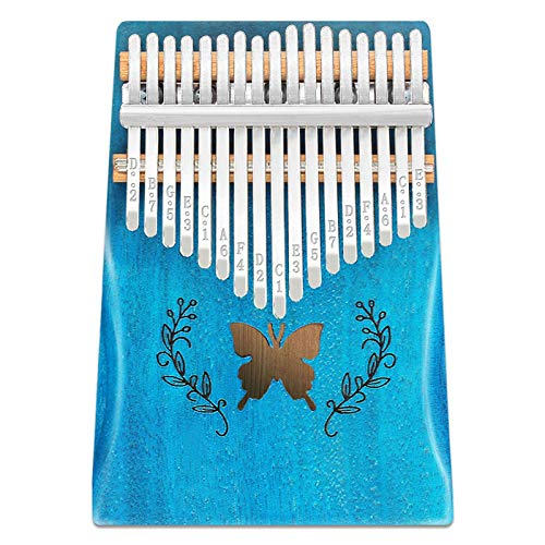 UMORNING Kalimba 17 Keys Thumb Piano Butterfly Pattern Solid Mahogany Wood Portable Finger Piano with Study Instruction and Tune Hammer Gift for Adults, Kids and Beginners