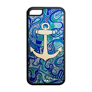5C Case, iPhone 5C Case - Fashion Style New Anchor Painted Pattern TPU Soft Cover Case for iPhone 5C (Black/white)