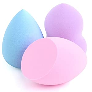 NIUTA Makeup Sponge 3 Pcs Multi Color Foundation Blending Flawless Makeup Blender Beauty Sponge Set for Liquid Creams and Powders