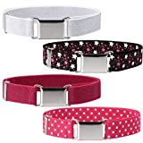 Ava & Kings 4pc Toddlers Mixed Design Adjustable Buckle Clasp Elastic Easy Belts - Shiny Pink/Blue