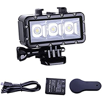 Andoer SL-109 30 LED Waterproof 40m Diving Fill Light 3 Mode with 1500mAh Rechargeable Battery + Charger for GoPro Hero 6/5/4/3+/3 Yi 4K SJCAM Action Sports Camera