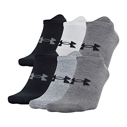 Under Armour Men's Essential Lite No Show Socks 6-Pair, Shoe Size: Mens 8-12, Gray Assorted