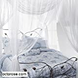 King Size Four Poster Bed OctoRose 4 Poster Bed Canopy Functional Mosquito Net Full Queen King (Ivory)