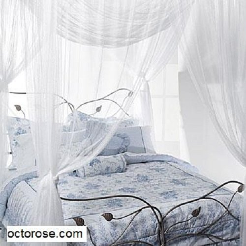 Octorose ® 4 Poster Bed Canopy Functional Mosquito Net Full Queen King (Ivory)