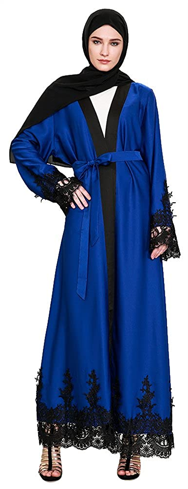 Ababalaya Women's Elegant Modest Muslim Open Front Lace Splicing Maxi Abaya with Wrap CNA1497