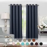 "VEEYOO Blackout Curtains Grommet Energy Saving Room Darkening Window Curtains and Drapes with Tiebacks for Bedroom, 2 Panels, 52"" W x 84"" L, Navy"