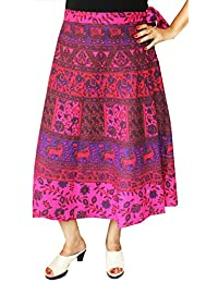 Maple Clothing Printed Cotton Long Wrap Skirt from India
