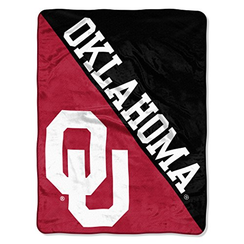 Officially Licensed NCAA Oklahoma Sooners Halftone Micro Raschel Throw Blanket, 46