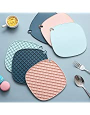 LIVHIVE Premium Silicone Trivet Mats, Multipurpose Hot Pot Holders, Hot Pots and Pans Drying Mat, Thick Countertop Mat for Hot Dish Heat Resistant to 440°F | 3 Pack (Tri-Color (Set of 3))