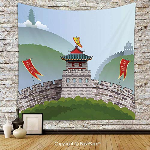 FashSam Tapestry Wall Hanging Cartoon Great Wall of China Curvy Design Flag Hills Greenery Decorative Tapestries Dorm Living Room Bedroom(W59xL90) -