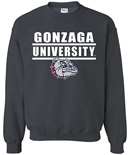 NCAA Gonzaga Bulldogs Adult Unisex NCAA Bars Logo Crewneck Sweatshirt,X-Large,DarkHeather