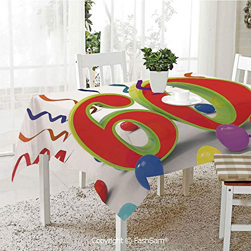 (FashSam 3D Dinner Print Tablecloths Party Confetti Swirls with Baloons and Green Orange 60 Number Tablecloth Rectangle Table Cover for Kitchen(W60)