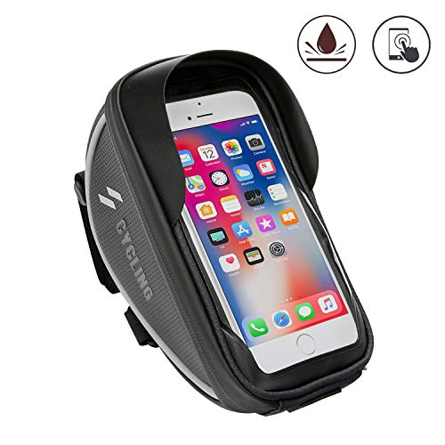 STAYING Bicycle Top Tube Front Frame Bag, Bike Handlebar Holder Case Bags, with Touch Screen Waterproof, Outdoor Mountain Sports Storage Bag, Fits Phones Below 6.5 inches iPhone Xs max