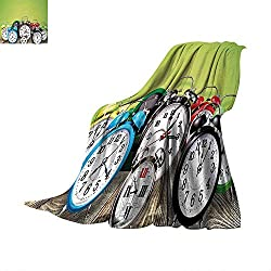 Anhuthree Clock Super Soft Lightweight Blanket A Group of Alarm Clocks on The Wooden Ground Digital Print Nostalgic Design Print Summer Quilt Comforter 80x60 Lime Green