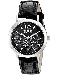 Unisex SOR010015 Manhasset Stainless Steel Watch with Black Leather Band