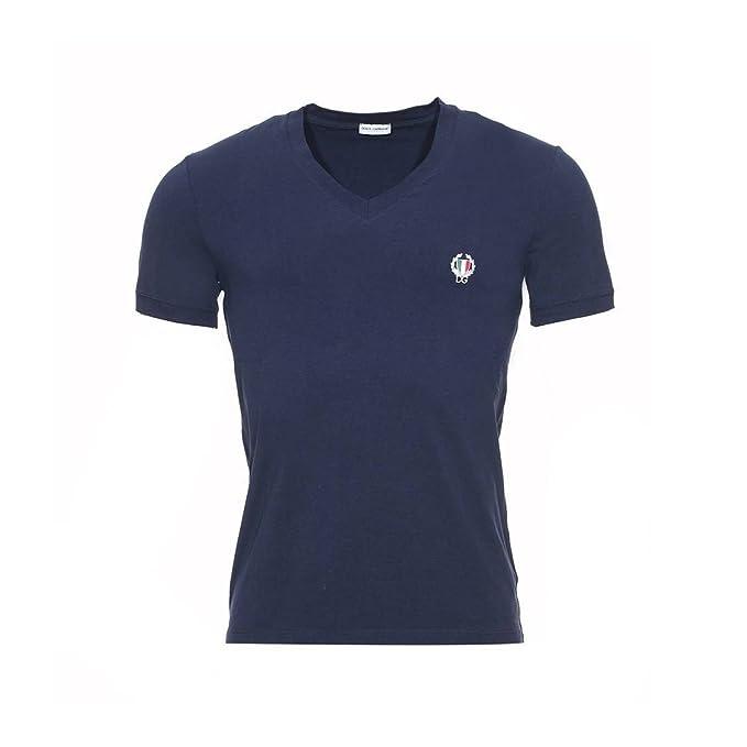 Dolce & Gabbana Deporte Cresta Profundo Con Cuello En V Camiseta De Los Hombres, Marina