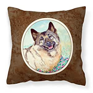 "Caroline's Treasures 7231PW1414 Norwegian Elkhound Fabric Decorative Pillow, 14"" H x 14"" W, Multicolor"