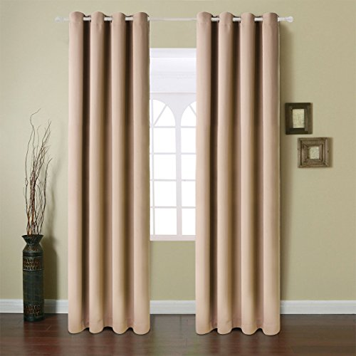 Fairyland Blackout Window Curtains Grommet Thermal Insulated Drapes 2 Panels 250g for Bedroom&living Room(Camel, 52x63 in)