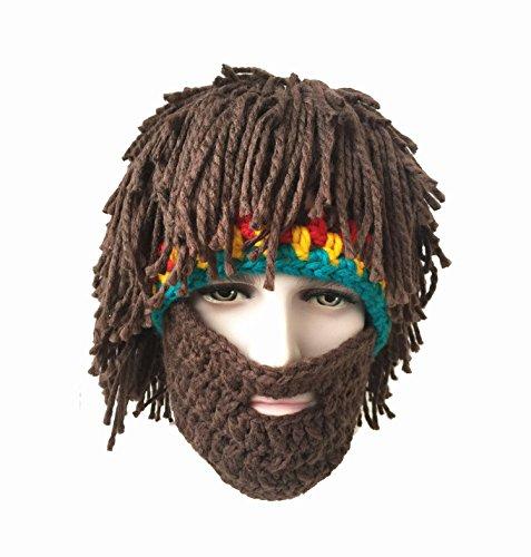 Bulanqi Men's Creative Halloween Costumes Knit Barbarian Handmade Wig Bearded Hats Warm Mask (Mens Barbarian Wig)
