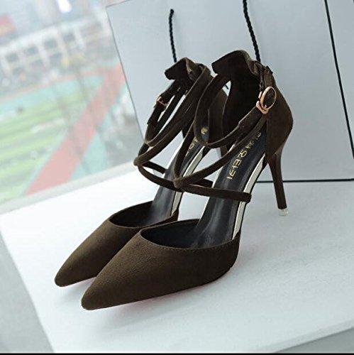 scarpe tacco militare 37 donna strap Baotou Suede verde tacchi Hollow sandali Qiqi Xue stiletto pompe da q5ZaOWEg