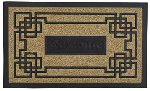 - Superio Natural Greek Key Coir Welcome Doormat - Outdoor Welcome Mat - 29 x 17.5