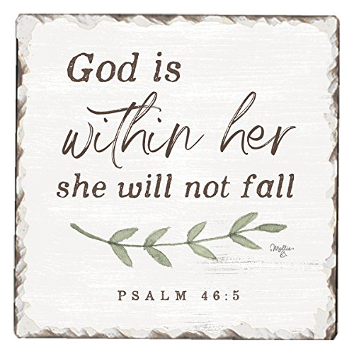 CounterArt Single Tumbled Tile Absorbent Coaster, God Is Within Her, She Will Not Fall
