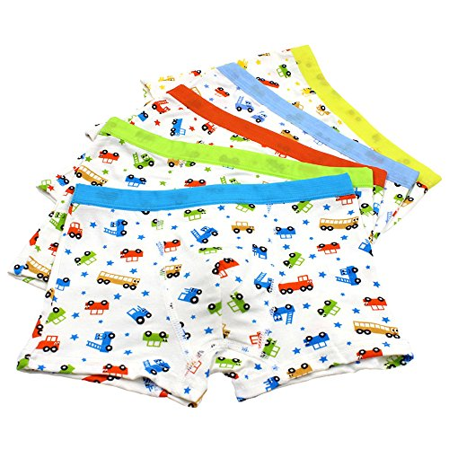 Jiaboy Toddler Underwear, Little Boys Boxer Briefs Underwear Cute Car Print Boyshort 5 of Pack 2t-12t Car Boxer Shorts