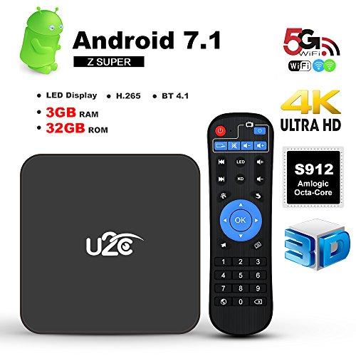 U2C Android 7.1 TV Box Z Super Amlogic S912 Octa Core 3GB RAM 32GB ROM 4K 2017 Update Ultra HD 2.4G 5G Dual-Band Wifi with LED Display Media Player