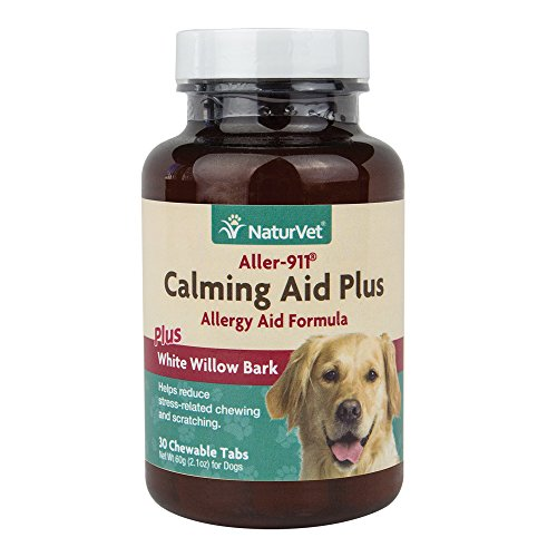 NaturVet Aller-911 Calming Aid Plus Allergy Aid Formula Plus White Willow Bark for Dogs, 30 ct ChewableTablets, Made in USA