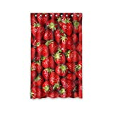 JIDUIDODO Single& Original& Personal Tailor Decoration Thanksgiving Gifts Strawberry Window Curtain for Living Room, Bedroom, And Kids Rooms Polyester Kitchen Curtains 52''x84''(One Piece)