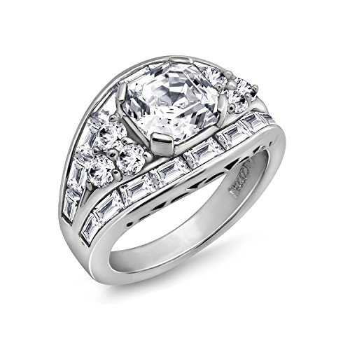 DIAMONBLISS Platinum Sterling Silver Cubic Zirconia Asscher and Baguette Cocktail Ring Size-7 (Baguette Side Cocktail Ring)