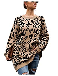 LANISEN Women Leopard Print Oversized Sweaters Long Sleeve Casual Knitted Jumper Pullover Sweatshirts Tops