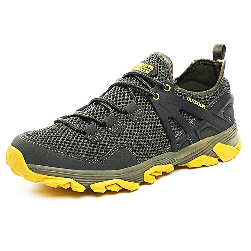 Idea Frames Men Hiking Shoes Lightweight Non-Slip Outdoor Sneaker for Walking Trekking Camping Trail Running Shoe Grey/Yellow
