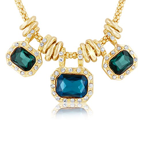 Blue Sapphire Glass And Crystal Statement Necklace, 18 - Glass Sapphire Crystal