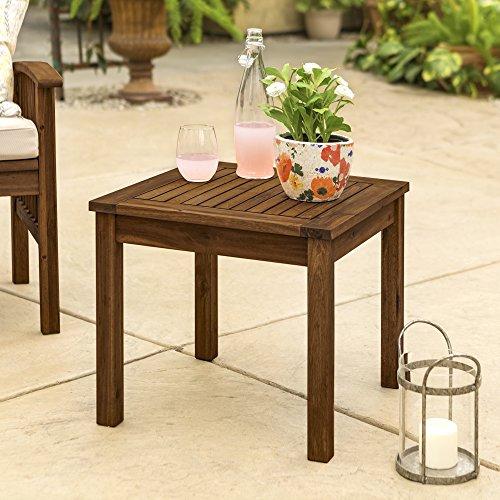 "WE Furniture AZWSSTDB Outdoor Side Table, 20"", Dark Brown"